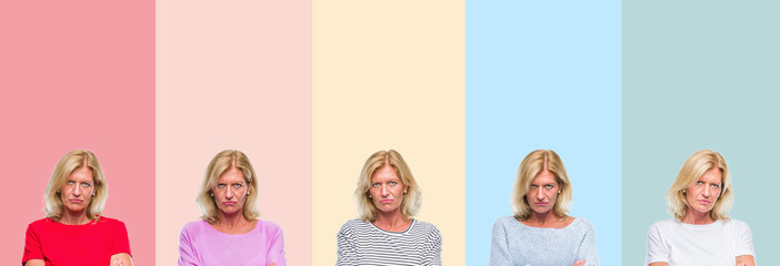 Collage of middle age senior beautiful woman over colorful stripes isolated background skeptic and nervous, disapproving expression on face with crossed arms. Negative person.