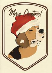 Merry Christmas Greeting Card with Beagle Dog