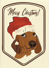 Merry Christmas Greeting Card with Dachshund Sausage dog
