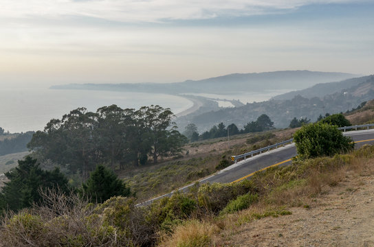 scenic view of Stinson Beach and Bolinas Lagoon from Panoramic Highway Mt. Tamalpais State Park, marin County, California