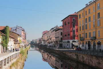 Naviglio Grande channel. Milan, Italy