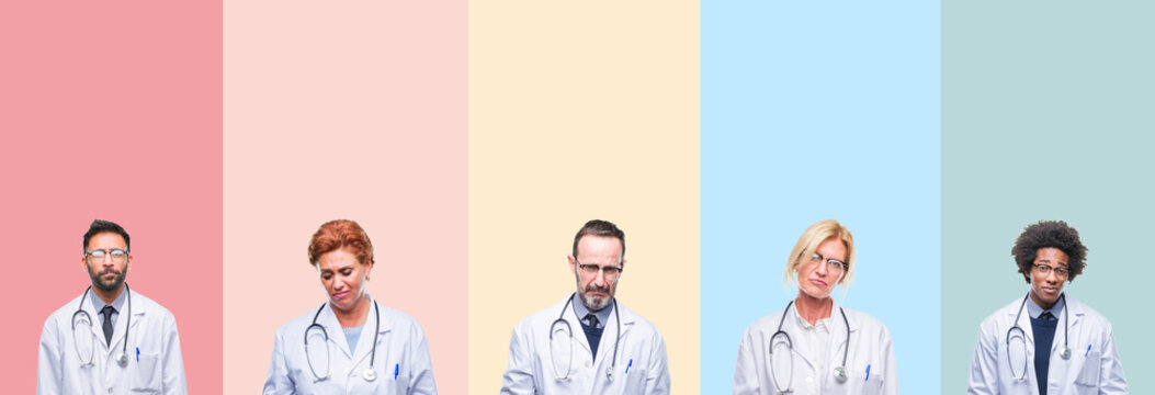 Collage of professional doctors over colorful stripes isolated background depressed and worry for distress, crying angry and afraid. Sad expression.