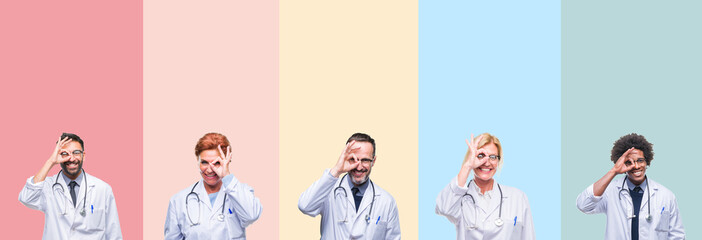 Collage of professional doctors over colorful stripes isolated background doing ok gesture with hand smiling, eye looking through fingers with happy face.