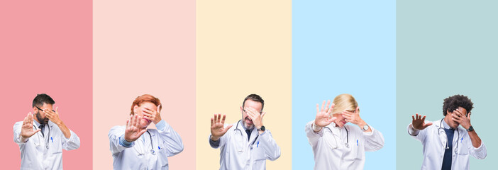Collage of professional doctors over colorful stripes isolated background covering eyes with hands and doing stop gesture with sad and fear expression. Embarrassed and negative concept.
