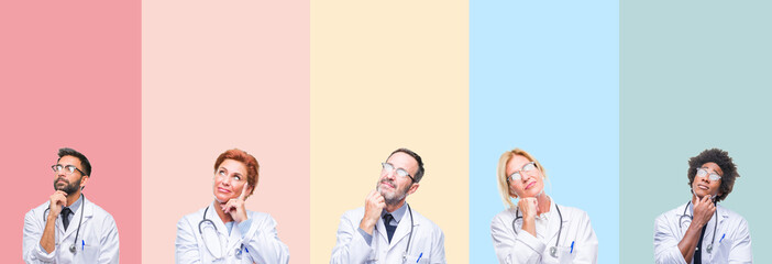 Collage of professional doctors over colorful stripes isolated background with hand on chin thinking about question, pensive expression. Smiling with thoughtful face. Doubt concept.