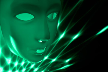 Green dramatic mask stock images. Green mask on a green background. Plastic human mask. Blank male mask Halloween. Mental illness abstract picture stock images