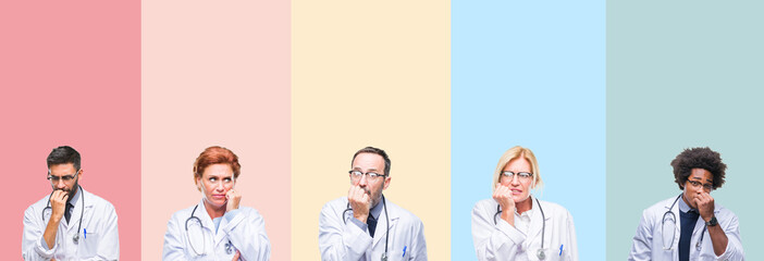 Collage of professional doctors over colorful stripes isolated background looking stressed and nervous with hands on mouth biting nails. Anxiety problem.