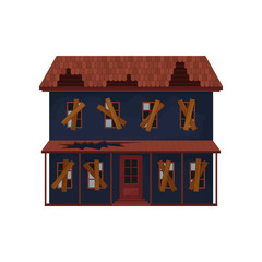 Abandoned house with destroyed roof and boarded-up windows. Old big building. Architecture theme. Flat vector design