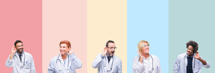 Collage of professional doctors over colorful stripes isolated background smiling with hand over ear listening an hearing to rumor or gossip. Deafness concept.