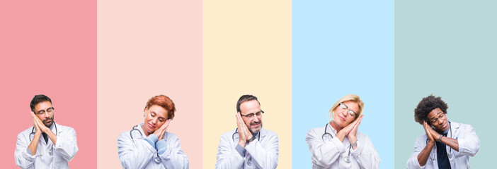 Collage of professional doctors over colorful stripes isolated background sleeping tired dreaming and posing with hands together while smiling with closed eyes.