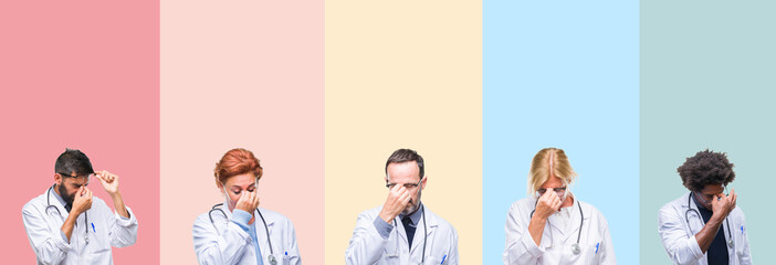 Collage of professional doctors over colorful stripes isolated background tired rubbing nose and eyes feeling fatigue and headache. Stress and frustration concept.