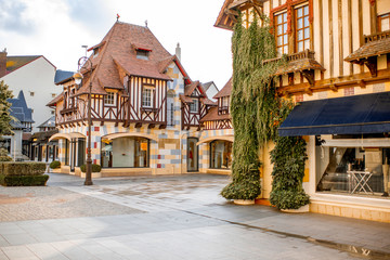 Street view with beautiful old houses in the center of Deauville town, Famous french resort in Normandy Wall mural
