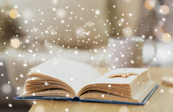 winter, literature and reading concept - open book with autumn leaf on wooden table at home over snow