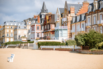 Luxury buildings on the coastline of Trouville, famous french resort in Normandy Fototapete