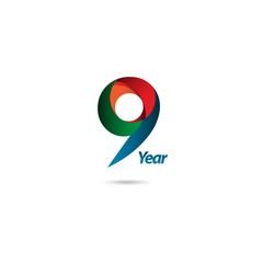 9 Year Anniversary Vector Template Design Illustration