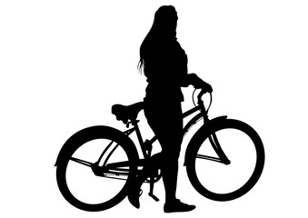 Wall Mural - Sport people whit bike on white background