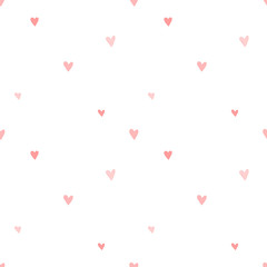Seamless pattern of hand-drawn pink hearts on a transparent background. Vector image for a holiday, baby shower, birthday, Valentine's Day, wrappers, prints, clothes, cards, banner, textiles, girl