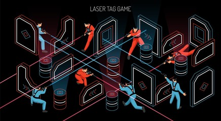 Laser Tag Isometric Banner