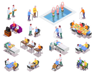 Nursing Home Isometric Icons Set