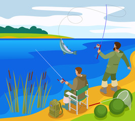 Fishermen Isometric Composition