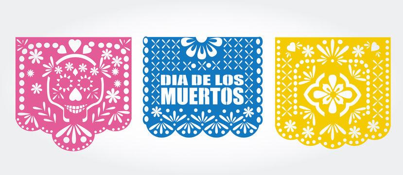 Dia de los muertos (day of the dead) Mexican  traditional bunting banner vector. Papel picado template.