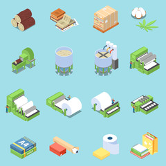 Paper Production Icons Set