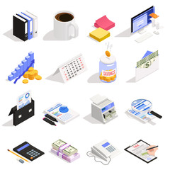 Accounting Isometric Icons