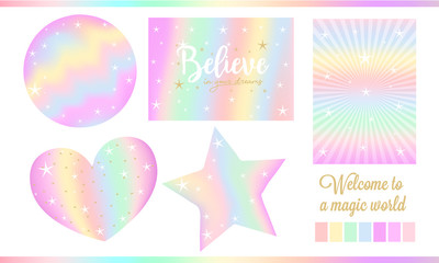 Set of fantasy card for little princess. Unicorn rainbow stickers in pastel colors ( pale yellow, light green, red, violet) with white stars, golden dust. Cute sweet clouds, birth invite. Magic world
