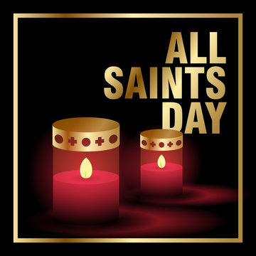 All saint day creative backgroudn with candle and gold color