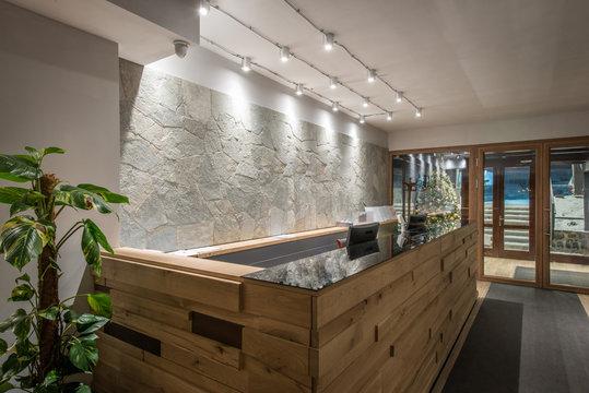 Wodeen reception desk in luxury hotel interior