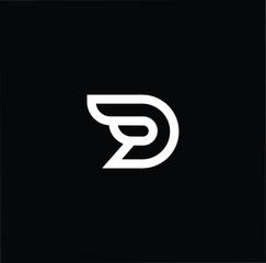 Travel letter D DD minimalist art monogram shape logo, white color on black background