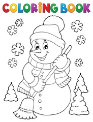 Printed roller blinds For Kids Coloring book snowman topic 5
