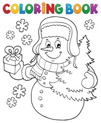 Coloring book snowman topic 6