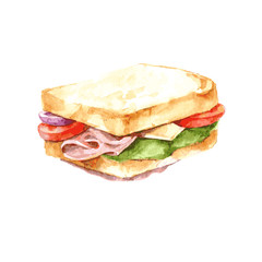 Ham, cheese and vegetable sandwich illustration. Watercolor. Isolate. Vector