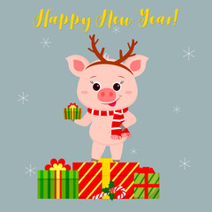 Happy New Year and Merry Christmas Greeting Card. Cute pig in a deer antler and a scarf holding a lollipop. It is on the box with a gift. The symbol of the new year in the Chinese calendar. Vector