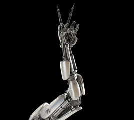 Robot hand with victory sign. Android, humanoid or cyborg artificial intelligence technology concept. Futuristic science fiction element. 3D illustration