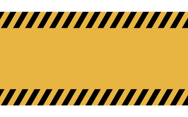 Caution, danger, and police tape attention. Black and yellow warning line striped rectangular background.