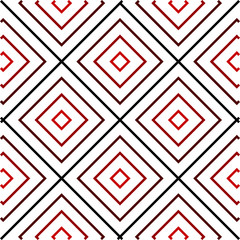 Geometric Pattern, Black and Red, Concentric Squares