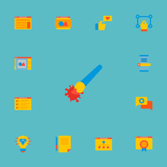 Set of development icons flat style symbols with copywriting, vector tool, website and other icons for your web mobile app logo design.