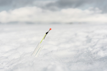 Close up of the fishing rod..Winter fishing