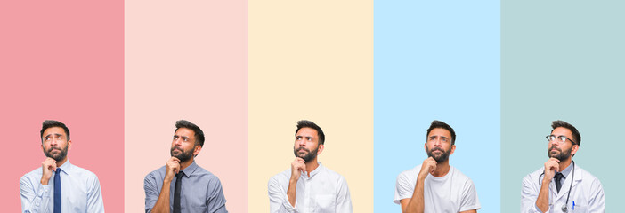 Collage of handsome man over colorful stripes isolated background with hand on chin thinking about question, pensive expression. Smiling with thoughtful face. Doubt concept.