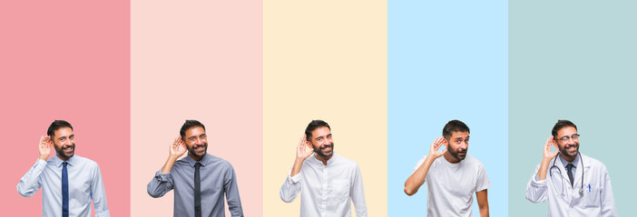 Collage of handsome man over colorful stripes isolated background smiling with hand over ear listening an hearing to rumor or gossip. Deafness concept.