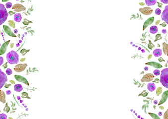 Painted watercolor composition with flowers and leaves. Frame of roses. Floral border. Can be used as invitation card for wedding, birthday, other holiday, summer background, poster, banner.
