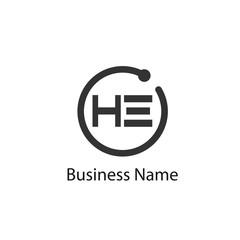 Initial HE Letter Logo Design