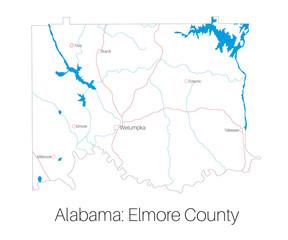 Detailed map of Elmore county in Alabama, USA
