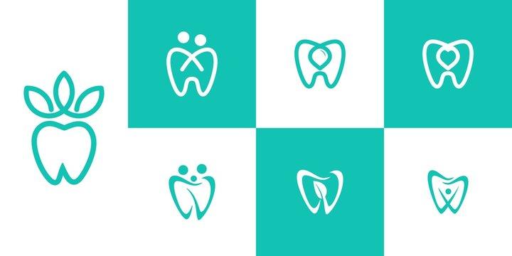 dental logo vector water line, love, leaves, people