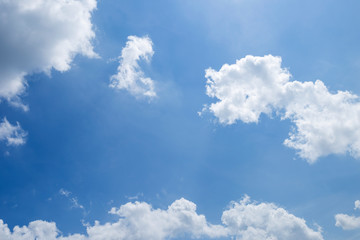 Summer sky background, white cloud over blue sky, season and weather concept background