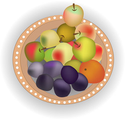 Brown plate with fresh fruits vector EPS10