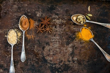 Turmeric, cardamon, anise, ginger and cinnamon in small spoons
