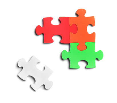 Colorful pieces of puzzle on white background